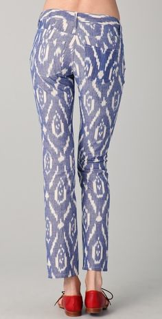 Love these Blue Ikat Pants with contrast pocket