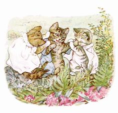 Moppet and Mittens tried to pull him together;