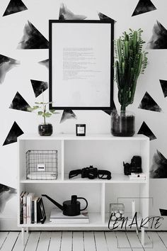 Black&White Triangles Removable Wallpaper Peel And stick