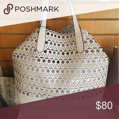 Handbag Large handbag, light gray reversible metalic silver Bags Shoulder Bags