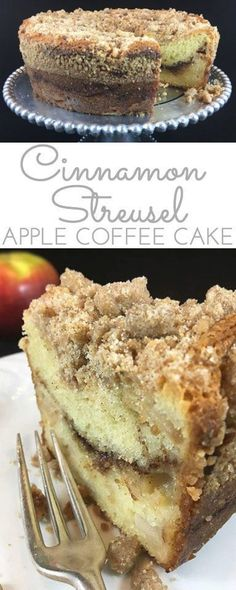 Tender Cinnamon Streusel Apple Coffee Cake: your new favorite sour cream coffee cake. Packed with apples, cinnamon filling & a crumbly cinnamon streusel. (desserts with apples cinnamon) Apple Recipes, Sweet Recipes, Baking Recipes, Cake Recipes, Dessert Recipes, Healthy Recipes, Pillsbury Recipes, Coffee Recipes, Just Desserts