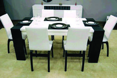 Beautiful dining room sets on sale near me to inspire you Cheap Dining Room Sets, White Dining Room Table, Black And White Dining Room, Fabric Dining Room Chairs, Dining Room Colors, Modern Dining Room Tables, Wooden Dining Tables, Dining Room Lighting, Dining Room Design
