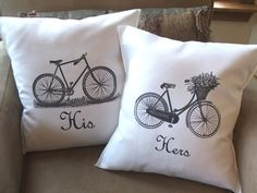 bicycle throw pillow his and hers throw pillow by Twirlocity, $23.19 on Etsy.com.