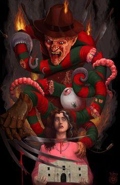 Freddy Krueger-Nightmare On Elm Street. Scary Movie Characters, Scary Movies, Horror Movies, Freddy Krueger, Robert Englund, New Nightmare, Nightmare On Elm Street, Freddy's Nightmares, Zombie Vampire