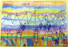 Maestra Caterina: Disegni su sfondo colorato (ottenuto dai pennarelli riciclati)
