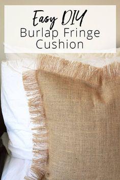 How to make this Easy DIY Burlap Fringe Cushion   Dossier Blog