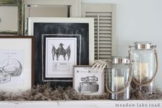Neutral Halloween Mantel decorated with free printables, mirrors, picture frames, Spanish moss, and a few spoooky knick-knacks | www.meadowlakeroad.com #halloweenmantel