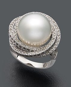 White Gold Ring, Cultured South Sea Pearl and Diamond ct.) Ring pearl ring - not quite a diamond, but i still wouldn't mind wearing it! Black Gold Jewelry, White Gold Rings, Pearl Jewelry, Diamond Jewelry, Fine Jewelry, Pearl Rings, Pearl Bracelets, Pearl Necklaces, Jewelry Necklaces