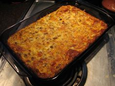 Overnight Sausage and Egg Casserole    Fry & drain 1lb sausage.  Mix 12 beaten eggs, 2 1/2C milk, 1 1/2tsp dry mustard, 2C grated cheddar cheese, 4-6 sliced, cubed, bread (day old or frozen work best), salt & pepper to taste.  Pour into 9x13 baking pan.  Refrigerate overnight.  Bake at 350F for 30min.
