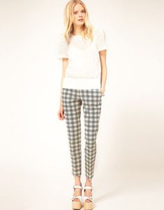 Tailored check pants from See by Chloé. Crafted in pure cotton with a contrast check print. Featuring a fitted high waist with an asymmetric concealed fastening and zip fly to the front, twin pockets to the hips, and twin jet pockets to reverse. Designed with a tapered fit and cropped length to the leg.