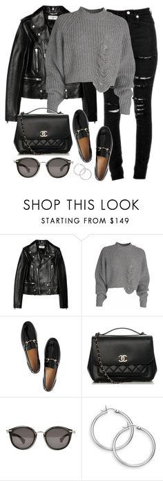 """""""Untitled #3128"""" by elenaday on Polyvore featuring Yves Saint Laurent, Gucci, Chanel and Moncler"""