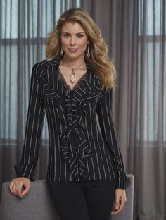 Valorie Pinstripe Ruffle Shirt from Midnight Velvet.  Move over, guys! Women have taken over pinstripes on dark fabric and made them fantastically feminine. All it takes is a fluid, silky-feeling fabric and the addition of ruffles and lace.