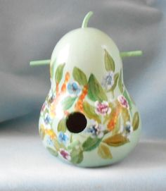 Hand Painted Green Field Flowers  Gourd Bird House by HouseOfGourds on Etsy