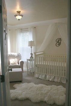 white nursery :) No.. I'm not having a baby- but my best friend did.  Love this as an idea.  :). One day.... :)
