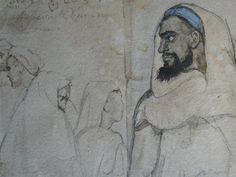 CHASSERIAU Théodore,1846 - Arabe barbu et autres Figures - drawing - Détail 04