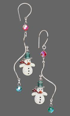 Dangling Glittered Snowman Earring Design Inspirations.  #Christmasjewelry #DIYjewelrymaking #holiday