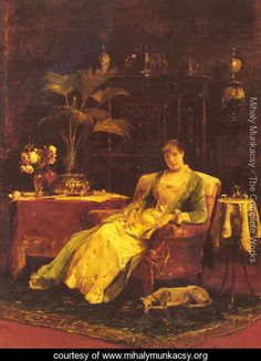 A lady seated in an Elegant Interior - Mihaly Munkacsy - www.mihalymunkacsy.org