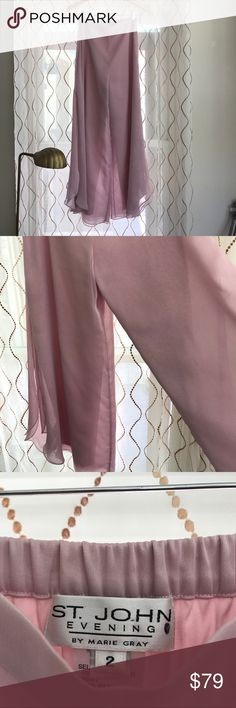 Gorgeous vintage St. John evening wide leg pants. Perfect condition. Sheer outside with satin-like interior. Slits on sides of leg, St. John Pants Wide Leg