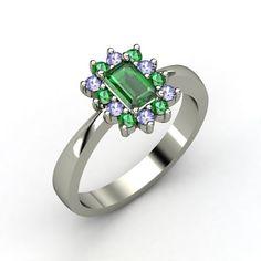 Emerald-Cut Emerald Platinum Ring with Tanzanite