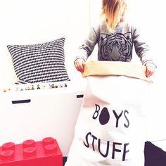 Boys Stuff // white paper bag. Hand painted storage door LotsofJess