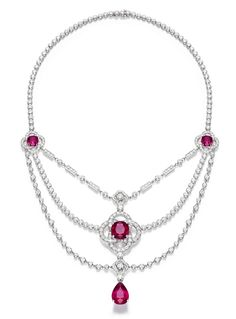 Piaget Couture Précieuse Necklace in white gold with a 12ct pear-shaped rubellite, three cushion-cut rubellites totalling 26ct and brilliant-cut diamonds.