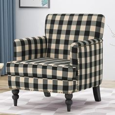 Charlton Home Karla Armchair Online Furniture, Home Furniture, Plaid Chair, Patterned Armchair, Barrel Chair, Grey And Beige, Toss Pillows, Accent Furniture, Club Chairs