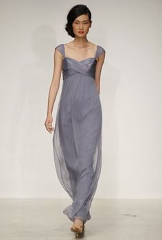 Brides: Amsale Bridesmaid Dresses - Spring 2013. Style G736C, chiffon sheath bridesmaid dress with a sweetheart neckline, empire waist, and sheer cap sleeves, Amsale