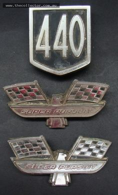 Group of Ford badges including Pair Super Persuit and 440 - serial numbers to backs