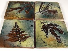 "4 Handmade 4 inch Stoneware Accent or Coaster Tiles in ""Green Leaf"" Glaze. $52.00, via Etsy."
