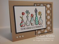 Vivid Vases from Stampin' Up!, and use those darling note card envelopes in Crumb Cake!