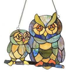 Look what I found on #zulily! Stained Glass Friendly Owls Window Panel #zulilyfinds