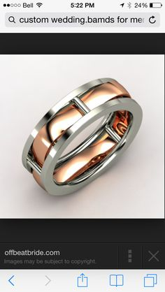 Men's platinum and rose gold wedding band