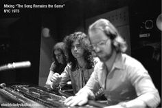 """1974* JP: """"In NY at Electric Ladyland Studios with Eddie Kramer mixing the soundtrack for the film 'The Song Remains The Same' in surround sound for cinema release."""""""