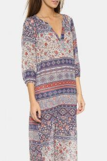 Bohemian Print V Neck 3/4 Sleeve Dress