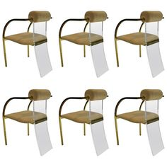 Set of Six Lucite and Gold Dining Chairs by Dewulf Selection and Belgo Chrom | 1stdibs.com