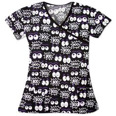 """BOOOO!! Don't be scared, check out this """"fa-boo-lous"""" Halloween print top! This brushed microfiber scrub top is perfect to get you into the Halloween spirit, just pair it with your favorite black, purple, or white scrub pants to complete the look! Halloween Scrubs, Halloween Prints, Cute Halloween, Spirit Halloween, White Scrubs, Scrub Pants, Fashion Night, Scrub Tops, Lady V"""