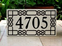 Your place to buy and sell all things handmade Tile House Numbers, House Number Plaque, Celtic Knot, Porcelain Tile, Home Remodeling, Tiles, Finding Yourself, Hand Painted, Black And White