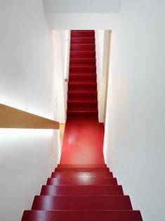 Deep color stairs.  Vallée de Joux by Atelier d'architecture.  Ralph Germann,  Photo.