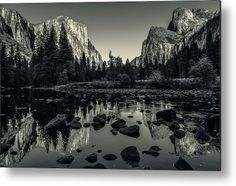Yosemite National Park Valley View Reflection Metal Print by Scott McGuire.  All metal prints are professionally printed, packaged, and shipped within 3 - 4 business days and delivered ready-to-hang on your wall. Choose from multiple sizes and mounting options.