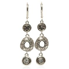 Caviar Collection #esbedesigns Caviar Triple Drop Earrings Sterling #Silver, Black #CZ Pavé Lever Back #Earrings. #handcrafted #gift #designerjewelry #esbedesigns