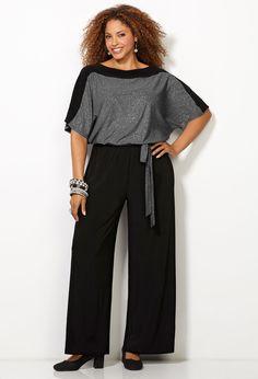 Shimmer Bodice Jumpsuit-Plus Size Jumpsuit-Avenue