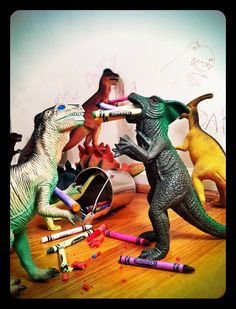 Welcome to Dinovember parents devote the month of November to making their kids thing that plastic dinosaurs have taken over their house in the night and made messes. so cute!