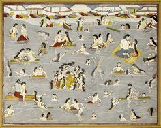 Krishna and the gopis bathing in the river Yamuna, illustration from a Harivamsa series, attributable to Purkhu, Kangra, circa 1800-15.
