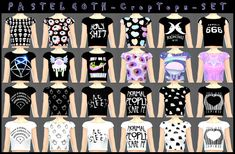 Pastel Goth Crop Tops at DecayClown's Sims via Sims 4 Updates