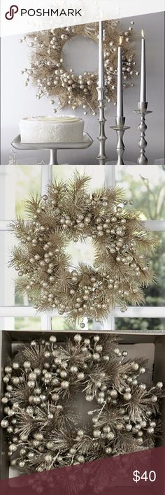 "🎄CRATE & BARREL🎄 Champagne Centerpiece Wreath Stored in original packaging.  17"" diameter. Crate&Barrel Holiday Wreaths"