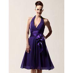 A-line Halter V-neck Knee-length Chiffon Matte Satin Bridesmaid/ Wedding Party Dress – USD $ 75.99