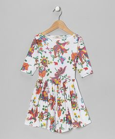 Take a look at this White Boatneck Three-Quarter Sleeve Dress - Toddler & Girls on zulily today!