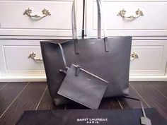 Saint Laurent 354105 Tote Bag In Grained Calfskin Grey ] : Real Bag Sale Designer Bags For Less, Saint Laurent Tote, Bag Sale, Michael Kors Jet Set, Tote Bag, Grey, Accessories, Fashion, Gray