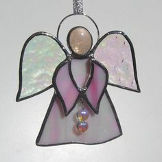 Pink Stained Glass Angel with Hearts Christmas by FiveSparrows