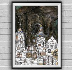Night Houses -mixed media / watercolor /   micron drawing  print